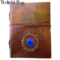 """5x7"""" HAMSA HAND EVIL EYE BLUE STONE BLANK LEATHER JOURNAL Witch Book of Shadows"""