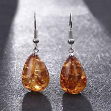 Vintage Sterling Silver Amber Color Earrings Jewellery Drop Eardrops Women Gift