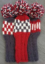 """3 HAND KNIT 8"""" GOLF HEAD COVERS BERRY OFF WHITE CHARCOAL HYBRID IRONS FUN GIFT"""