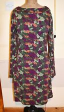Tall Girls Stretch Jersey dress size 10 purple Green multi Long Floral Sleeve