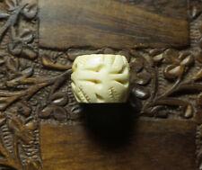 Rare Old Tibetan Yak Bone Pendant  And Blessed By Eminent Tibetan Lama