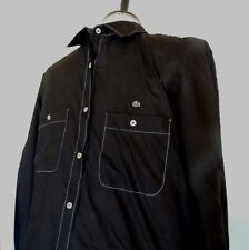 Lacoste Shirt Mens 44 M Button Down Solid Black Top Stitch Long Sleeve Crocodile