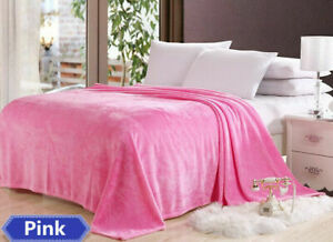 Double-sided Coral Fleece Blanket Warm Bed Sheet  Solid Color for Couch/Sofa/Bed