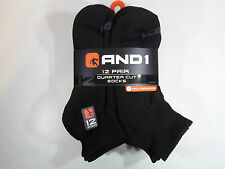 12 PAIRS AND1 Quarter Cut Ankle Socks Shoe 6-12.5  AND 1 Black Arch Compression