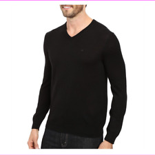 Calvin Klein Merino Wool Long Sleeve Pullover V-neck Sweater Black L