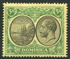 More details for dominica-1927 5/- black & green/yellow sg 88 lightly mounted mint v20122
