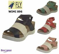 Fly London Ladies Wimi 896 Mousse Leather Upper & Lined Strap Platform Sandals