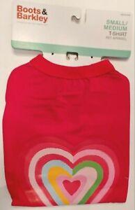 Boots & Barkley -  Heart Rainbow Red Pet T-shirt - Size Small/Medium