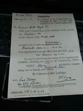 ROYAL NAVY COLD WAR ERA   APPOINTMENT LETTER 1953 HMS LOCH TRALAIG (K 655)