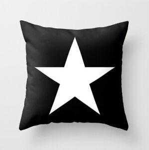 Black and White Star Cushion Cover, monochrome, nautical, Americana, sateen