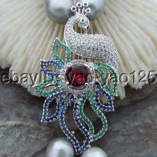 """S111907 2Strands 31"""" Gray Rice Pearl Necklace CZ Pendant"""