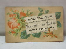 Vintage Solomon's Boots, Shoes & Rubbers Philadelphia, PA Trade Card