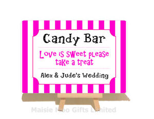 Personalised Metal Plaque Candy Bar Cart Sweet Table Buffet Wedding Sign Striped