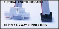 10 Pin IDC Ribbon Cable Plug to Socket 2 x 5 way connectors up to 1M Length