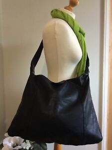 Ladies XL Slouchy Black Leather Tote Cross Body Bag UNBRANDED