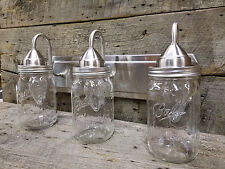 Mason Jar Light 3-Light Brushed Nickel Rustic Vanity Light Authentic Ball Jars