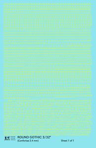 K4 HO Decals Yellow 3/32 Inch Round Modern Gothic Letter Number Alphabet Set