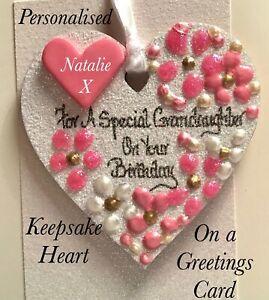Grandaughter's Birthday Keepsake Heart on a Greetings Card, Personalised