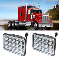 PAIR LED HEADLIGHTS SEALED HI/LO BEAM SQUARE FIT for TRUCKS Kenworth W900 W900B