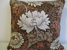 Cushion Cover Vintage Morris Sanderson Cotton Sateen Fabric Chrysanthemum Brown
