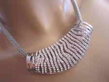 Strass Damen Collier Damen Hals Kette kurz Modekette Kristall Silber Bling c532d