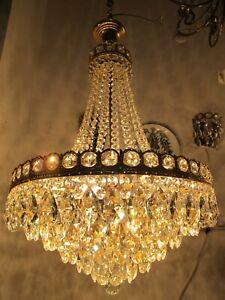 Antique Vnt French Gigantic Swarovski Crystal Chandelier Lamp 1940's 20in Ø dmtr