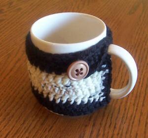Hand Crochet Black & Variegated Tan Buttoned Coffee Mug Cozy