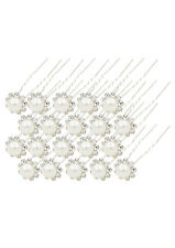20 Pcs Wedding Bridal Pearl Flower Crystal Hairpin Hair Clips Bridesmaid (white)