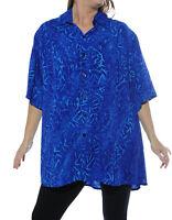 WeBeBop Batik Women's Water Leaves New Tunic Top 0X 1X 2X 3X 4X 5X 6X