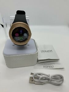 iTouch Curve Smart Watch (Rose Gold case Black face with blue band)- (3809R)