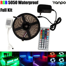 Waterproof 5M RGB 300 LED Strip Light 5050 SMD 44 Key Remote 12V Power Full Kit