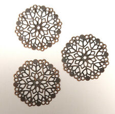 "3 x 2.5"" ANTIQUE COPPER LARGE FILIGREE CIRCLES EMBELLISHMENTS Bendy Metal Pinky"