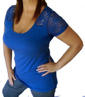 Sexy Royal Blue Plus Size Short Lace Sleeve Low-Cut Stretchy Tee Shirt Top 1x/2x