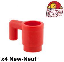 Lego - 4x Minifig utensil tasse mug cup verre glass rouge/red 3899 NEUF