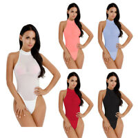 Women One Piece Bodysuit Swimwear High Cut Sheer Swimsuit Monokini Bikini Romper