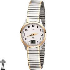 JOBO Damen Armbanduhr Funkuhr Edelstahl Bicolor vergoldet Flexband 46991
