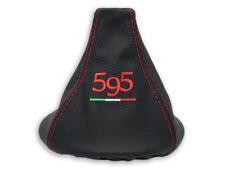 PER FIAT 500 ABARTH CUFFIA LEVA CAMBIO PELLE NERA RICAMO 595 ROSSO Italia