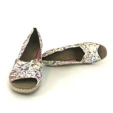 TOMS Women's Size 10 W Serena Multi-color White Peep Toes Woven Wedges Heels