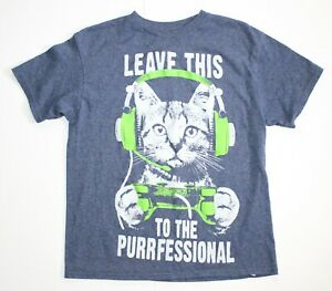 Boys Leave This To The Purrfessional Gamer Cat Video Game Kitty T-Shirt Size M