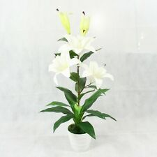 Artificial White Lilies Lily Plant Large Flowers Home Office Interior Decor