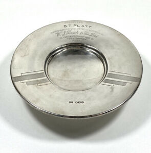 Sterling Silver Dish Sheffield 1950 Service Award For W.J. Bush & Co.LTD.