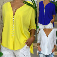 Women V-neck Lace Splice T-shirt Loose Casual Sexy Tee Tops Buttons Solid Blouse