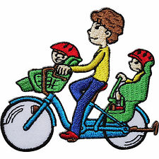 Bicycle Embroidered Iron / Sew On Patch Front Rear Child Bike Seat Kids Badge