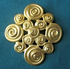 Large Satin Finish Gold Tone Gorgeous Vintage Pin / Brooch Very