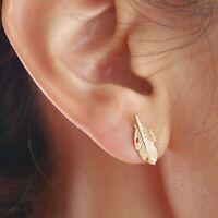 Silber Vergoldet Damen Ohrstecker Ohrringe Feder Blatt Leaf Rosegold Silber
