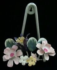 Vintage Floral Toleware Plate Picture Display Stand Or Hanging Rack Shabby Chic