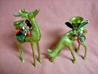 Candle Holders Vintage Brass Deer Christmas