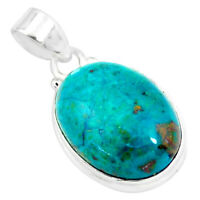 14.72cts Natural Green Chrysocolla 925 Sterling Silver Pendant Jewelry P57995