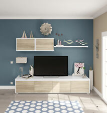 Mueble para salon comedor compuesto de varios modulos en color roble y blanco