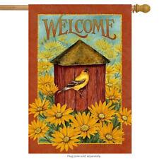 "Fall Birdhouse Welcome House Flag Decorative Sunflowers 29"" X 43"""